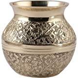 Aatm Brass Embossed Kalash Lota Utensil Best for Home & Office Decoration & Gift Purpose Handicraft (3.5 Inch)