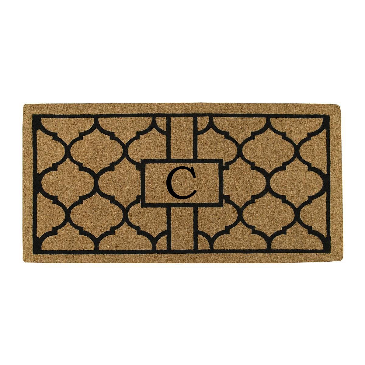 Home & More 180083672C Pantera Extra-thick Doormat, 36'' x 72'' x 1.50'', Monogrammed Letter C, Natural/Black