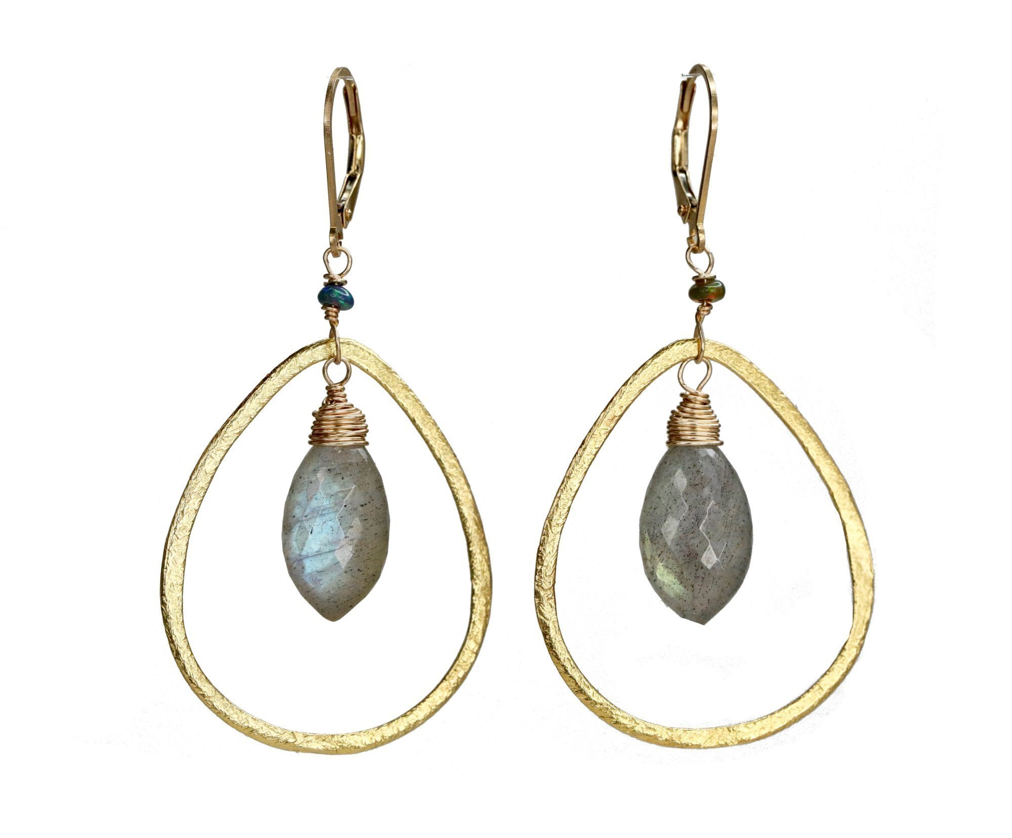 Gold Teardrop Hoop Chandelier Earrings Black Opal Labradorite Gemstone- 2.25'' Length