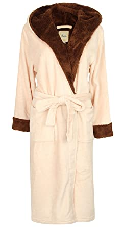 Robe de Chambre en Polaire Doux à Capuche, Rose/Marron: Amazon.fr ...