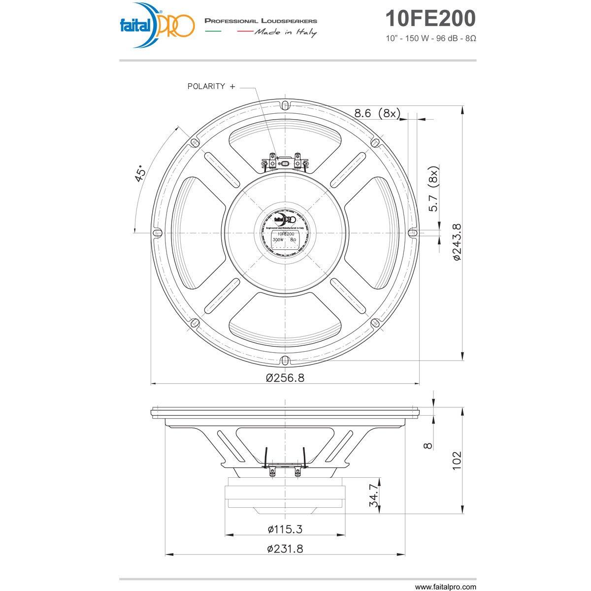 Pair Faital Pro 10fe200 10 Woofer Midrange Open Baffle Rockford Fosgate Punch 45 Specs Speaker 8 Ohm 300w 96db Home Audio Theater