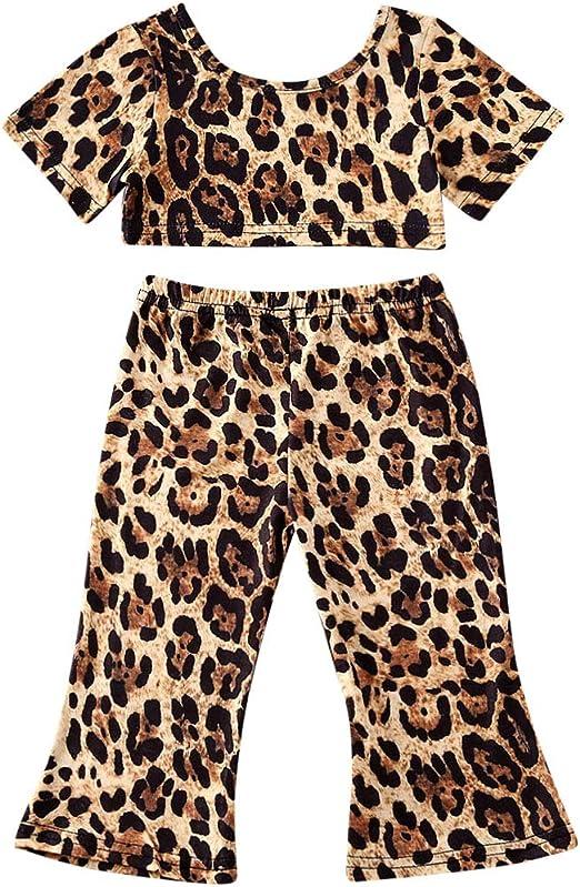 Striped Flare Pants Set Summer Clothes 2Pcs Toddler Little Girls Yellow Short Sleeve Crop Top