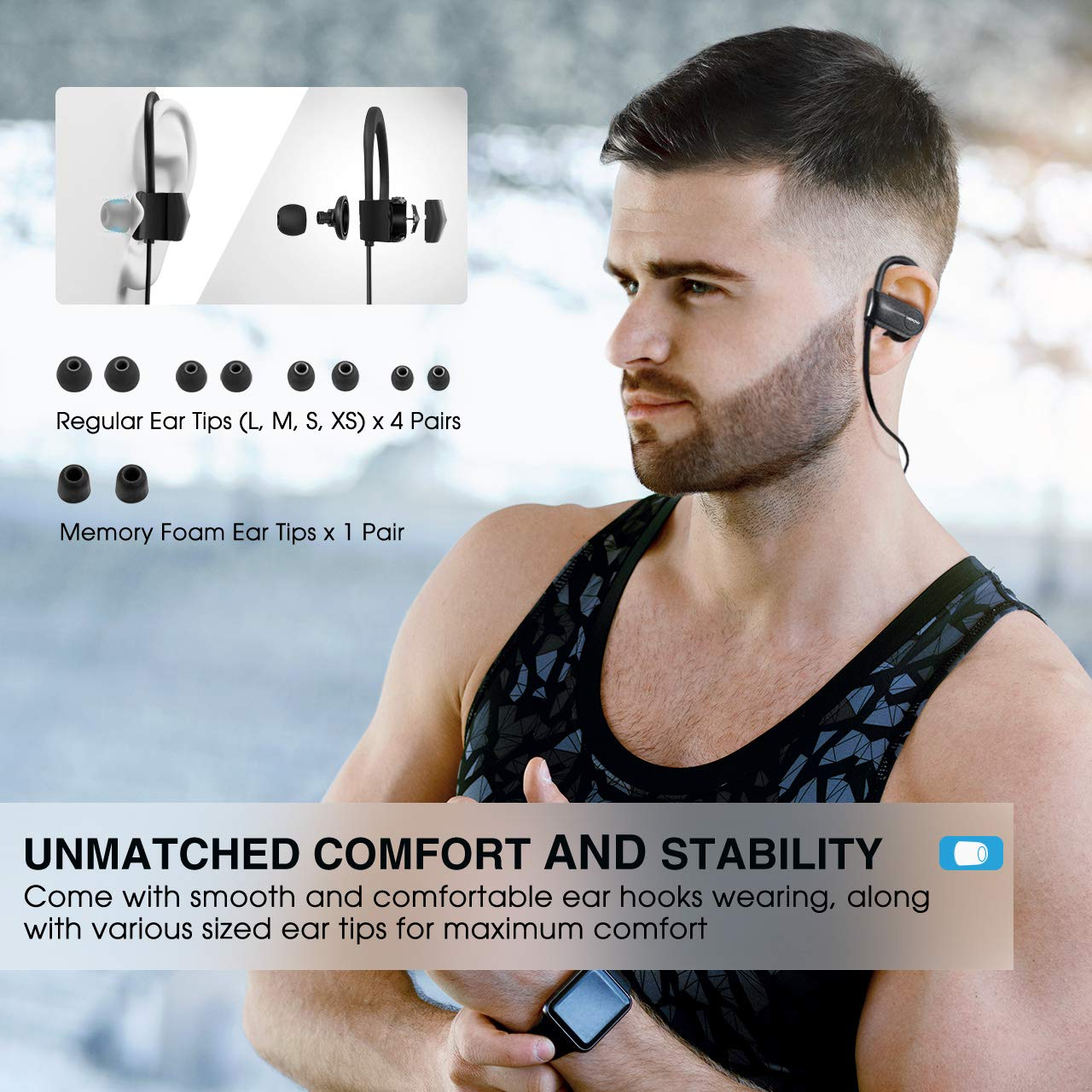 Mpow D7 Bluetooth Headphones Sport, 10H Playtime & IPX7 Waterproof Wireless Headphones Sport Earbuds W/Bass Stereo Sound, Running Headphones Bluetooth Earphones W/CVC 6.0 Noise Cancelling Mic, Black by Mpow (Image #6)
