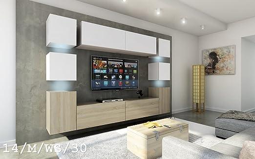 FUTURE 14 Moderno Conjunto De Muebles De Salón, Exclusivo Centro De Entretenimiento, Mueble TV, Gran Variedad De Colores (Iluminación RGB LED Opcional) (Sonoma base / Sonoma frente, sin LED) (14_M_WS_30, sin LED):