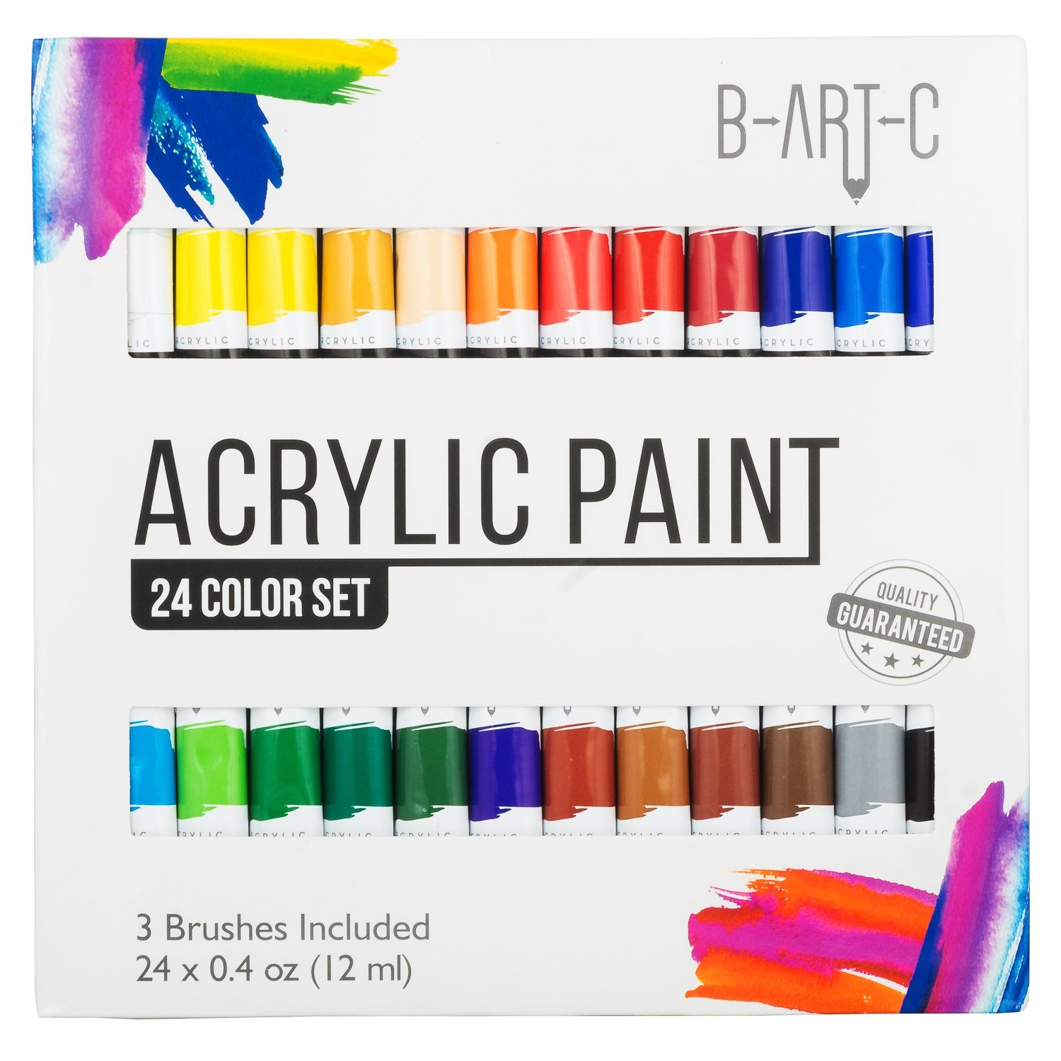 Acrylic Paint Set - B-Art-C 24 Vibrant Color Paint Kit includes 3 Paint Brushes -Non Toxic Paint for Canvas, Fabric, Glass, Nail Art, Rock Painting, Arts and Crafts for Girls & Boys by B-ART-C