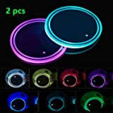 LED Cup Holder Lights, 2pcs LED Car Coasterss with 7 Colors Luminescent Light Cup Pad, USB Charging Cup Mat for Drink Coaster