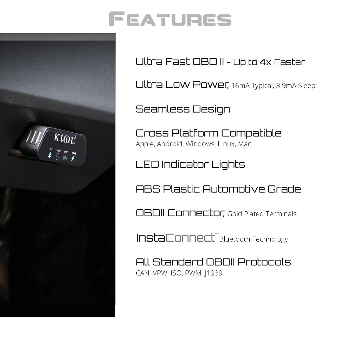 PLX Devices Kiwi 3 Bluetooth OBD2 OBDII Diagnostic Scan Tool for Android, Apple, Windows Mobile by PLX Devices (Image #7)