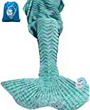 "LAGHCAT Mermaid Tail Blanket Knit Crochet Mermaid Blanket for Adult, Oversized Sleeping Blanket, Wave Pattern (75""x35.5"",Green)"