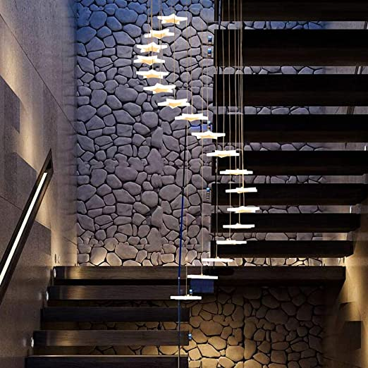54W LED Colgante de luz Hueco de escalera Lámpara de techo Blanco ...