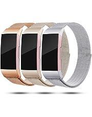Onedream Kompatibel für Fitbit Charge 3 Armband Damen Herren Metall Edelstahl Ersatzarmband