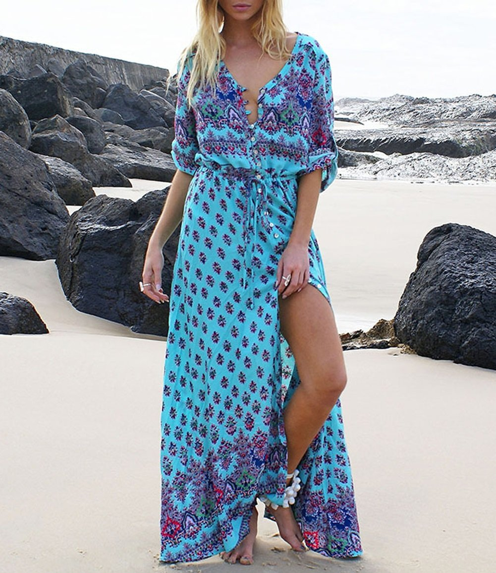 JudyBridal Women's Boho V Neck Sexy Button Closure Floral Beach Maxi Party Dress L Lake Blue by JudyBridal (Image #5)