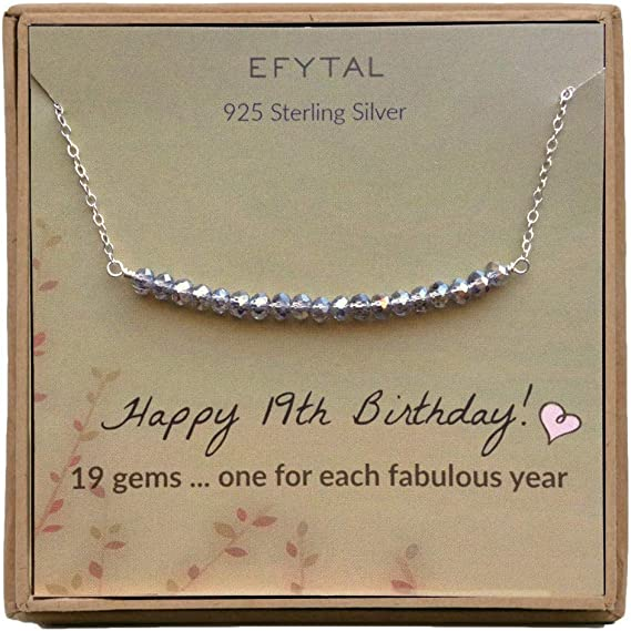 Efytal 19th Birthday Gifts For Women Girls Sterling Silver Necklace For Her 19 Beads For 19 Year Old Girl Jewelry Gift Idea Amazon Ca Clothing Accessories