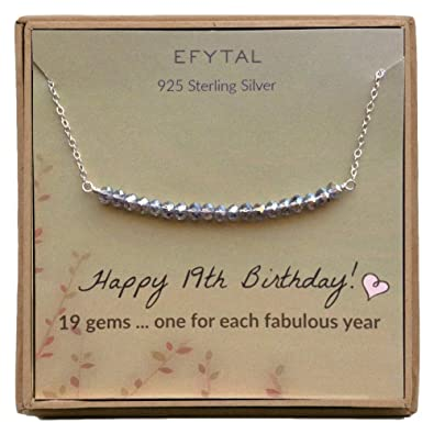EFYTAL 19th Birthday Gifts For Women Girls Sterling Silver Necklace Her 19 Beads Year Old Girl Jewelry Gift Idea