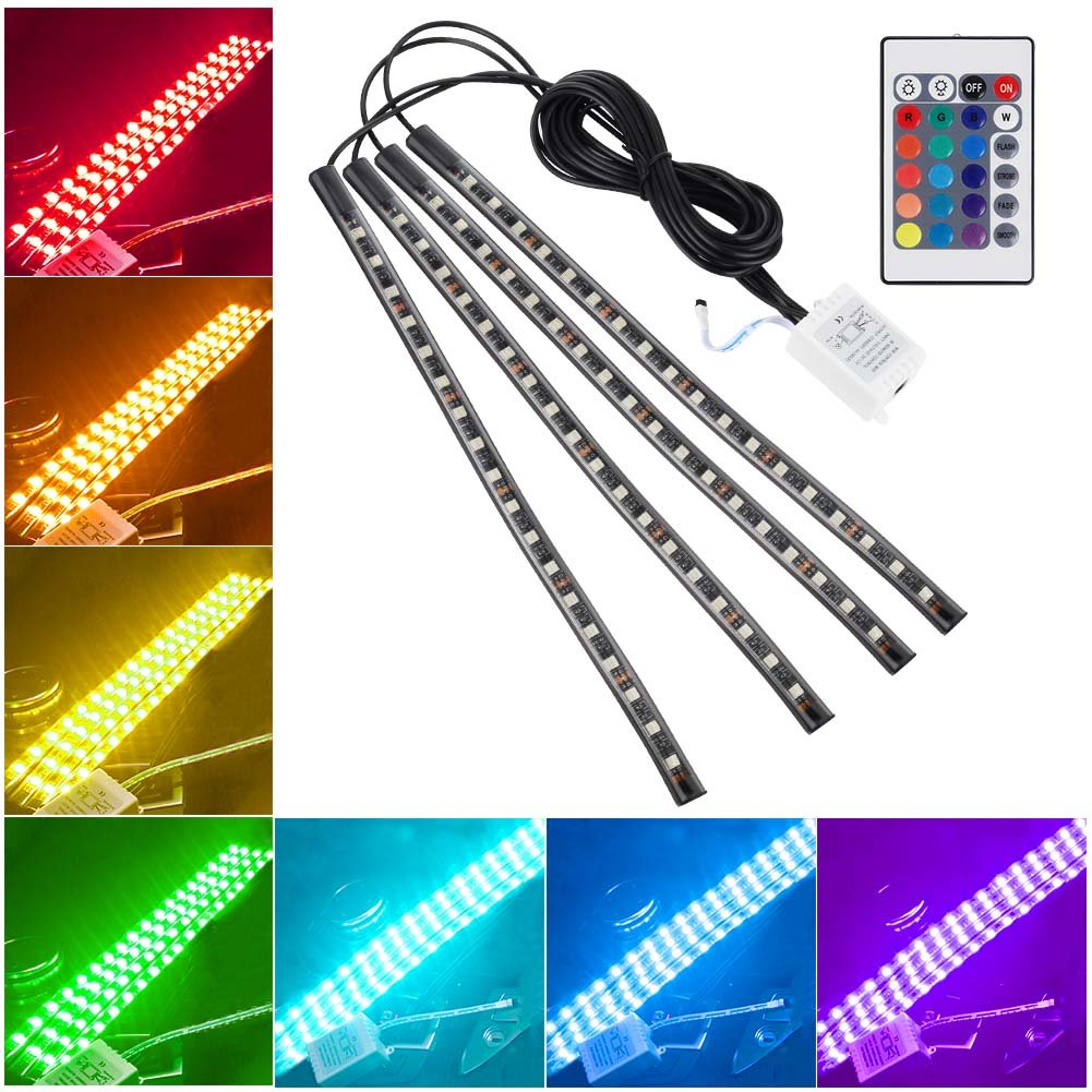 Hrph 4Pcs 9/12/18LED Car Atmosphere Lamp Flexible Strips With Remote Control 12V RGB Strip Light Auto Decoration Fog Lights 106584.03