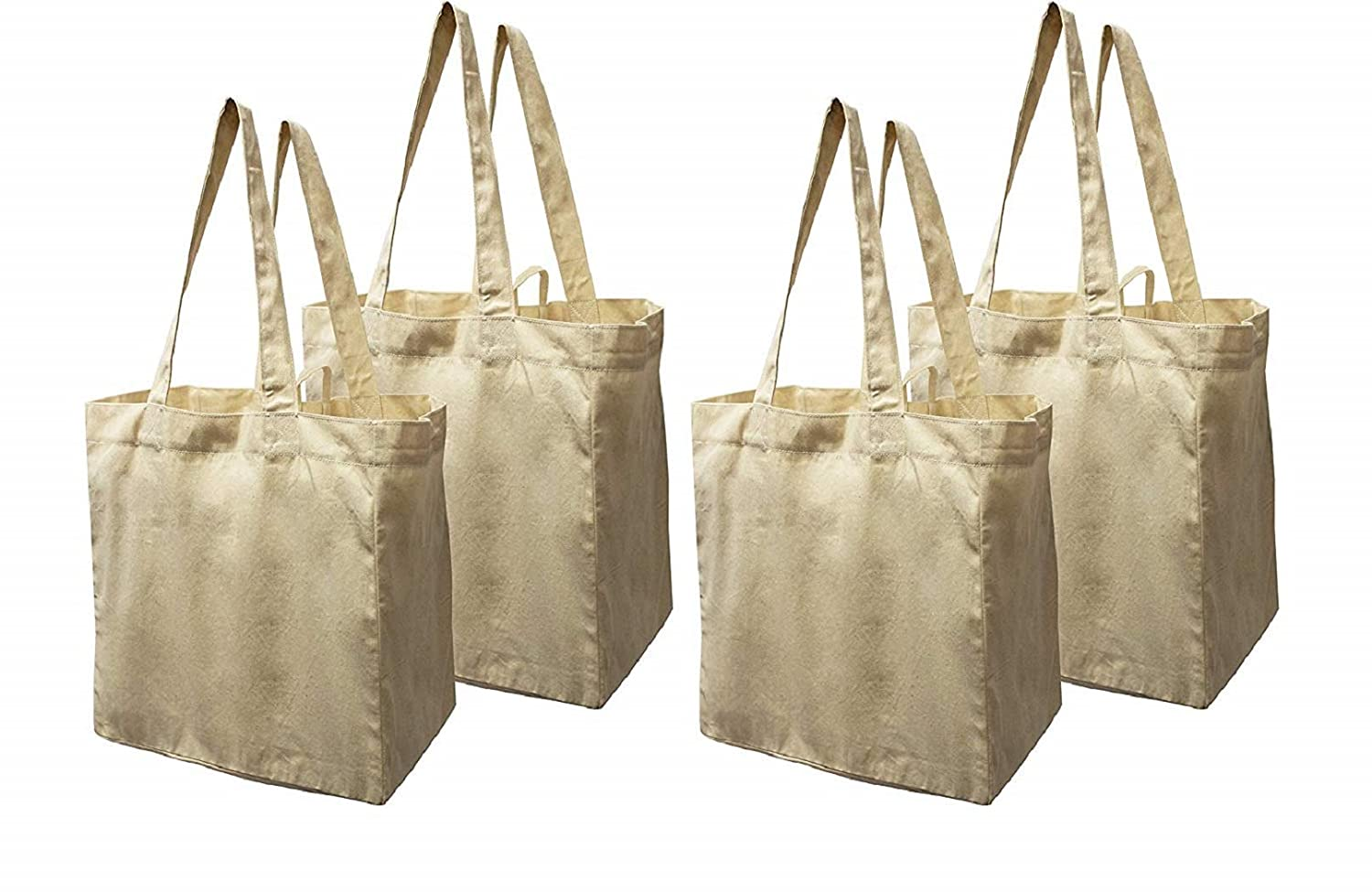a7de60d3879b07 Amazon.com: Earthwise Cotton Canvas Reusable Shopping Grocery Bag Tote (4  Pack) (Natural): Kitchen & Dining
