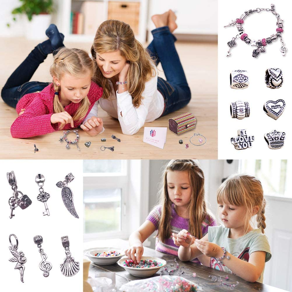 3 Snake Chains Jewellery Making Kits for Kids 1 Gift Card 12 Crystal Beads 1 Gift Box Girls Charm Bracelet Making Kit 59pcs Jewelry Bracelet Including 12 Dangle Charms 30 DIY Silver Plated Beads
