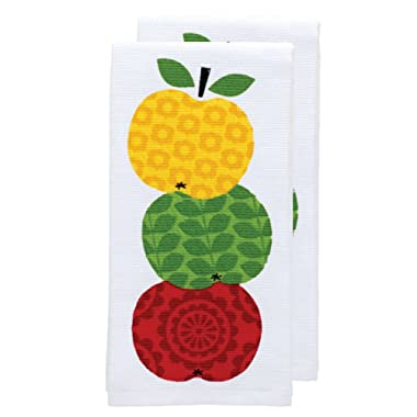 T-fal Textiles Double Sided Print Woven Cotton Kitchen Dish Towel Set, 2-pack, 16  x 26 , Apple Stack Print