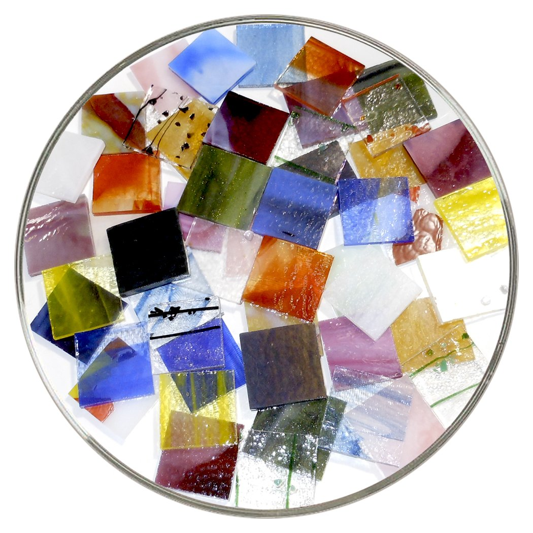 Bullseye Glass Specialty Pre-Cut 1-Inch Square Mix - Larger 18 Piece Pack - 90 COE New Hampshire Craftworks 4336824037