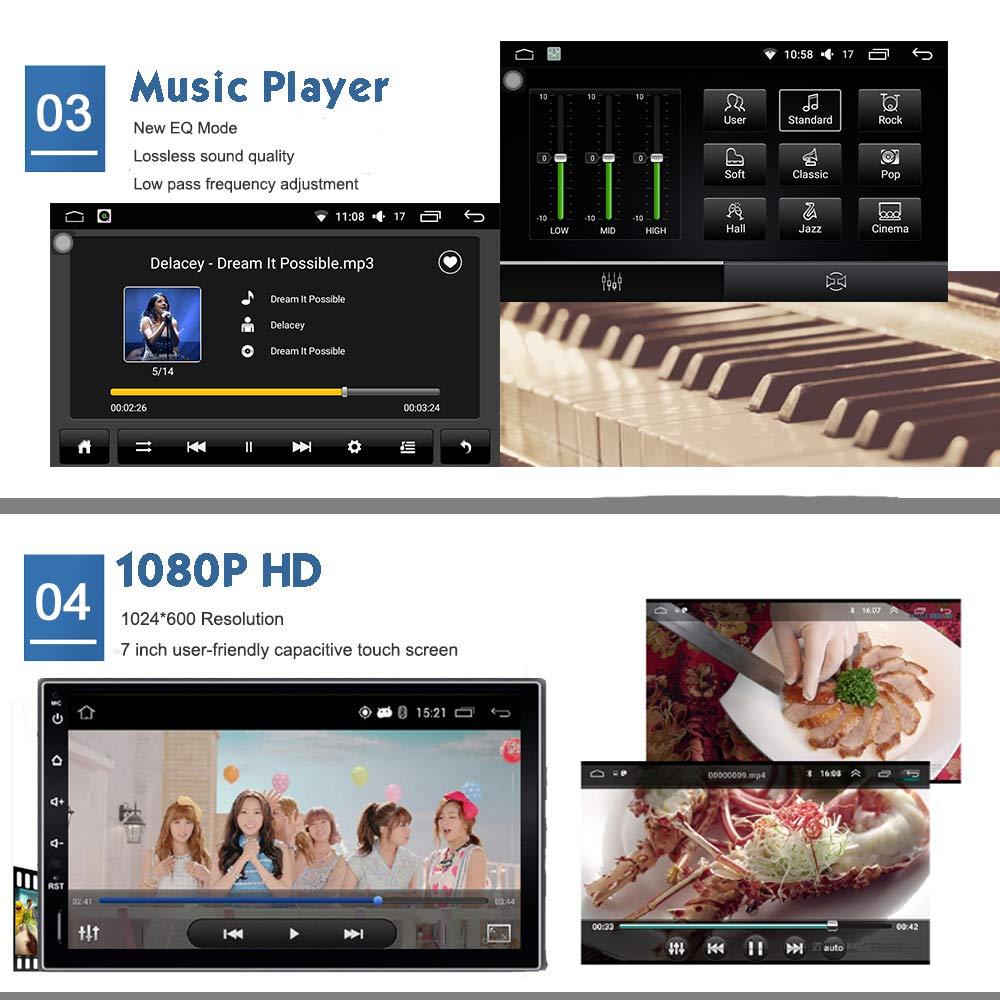 FM 2 Din Head Unit 1 GB de RAM 16 GB ROM Mirror Link Steering Control BT Wi-Fi Audio Player Puerto USB Pantalla t/áctil de 7 pulgadas KX018 Android 7.1 Car Stereo GPS de navegaci/ón Auto Radio AM