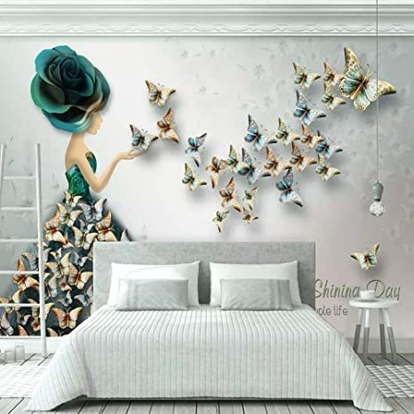 Amazon Com 3d Stereo Embossed Butterfly Flower Art Wall Painting Creative Fashion Woman Butterfly 3d Wallpaper Living Room Home Wall Decor 157x110in Home Kitchen