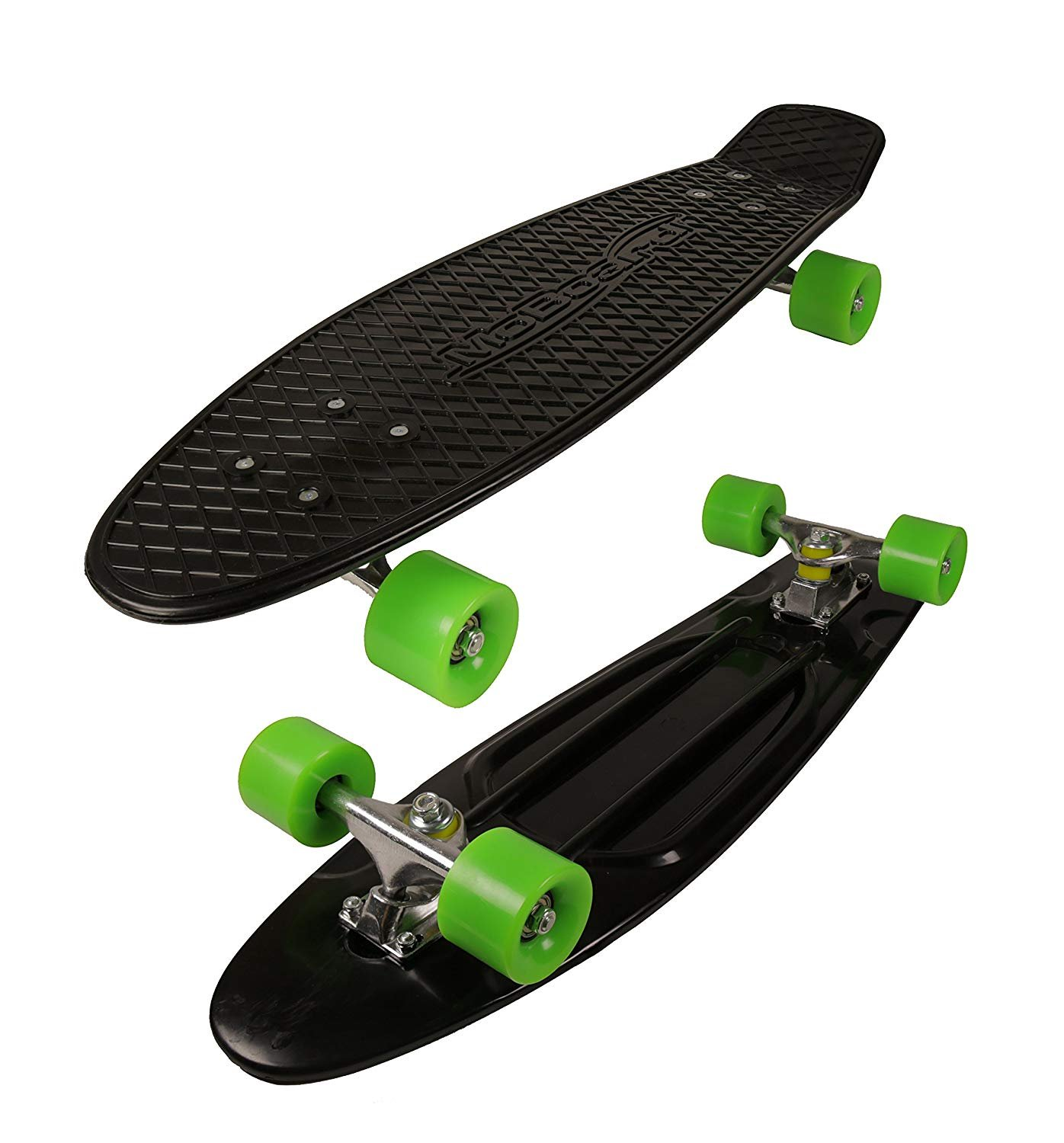 MoBoard 27'' Graphic Complete Skateboard, Black/Green