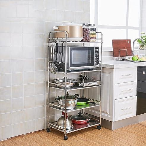 Amazon.de: Mizii Edelstahl-Mikrowellen-Regal, Abnehmbare Küche ...