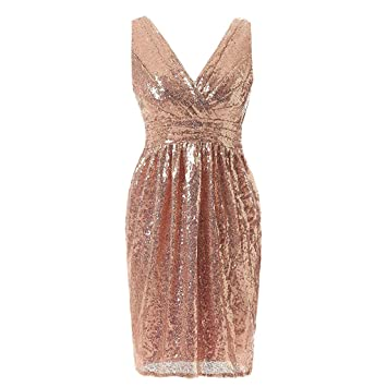 ab8d68fc5bd KFSO Fashion Women Sparkle Giliter Glam Sequin V-neck Sleeveless Party Club  Mini Sexy Dress