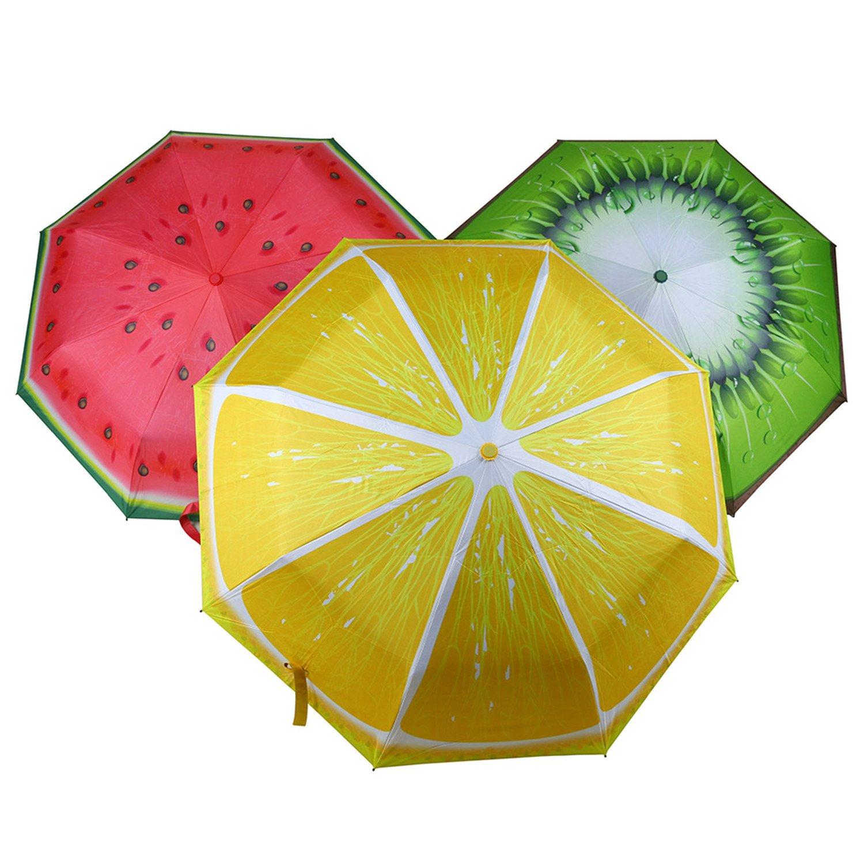 Amazon.com : Reinhar NEW New Arrive Three Folding Strong Big Sunny Ladies women rain fruit anti-uv Lemon Kiwi Black coating Watermelon umbrellas : Sports & ...