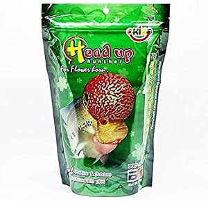 OKIKO Fish Food Size M 3.5 oz (100g) Head Up Hunch High Protein & Calcium with Astaxanthin Plus Flowerhorn Cichlid