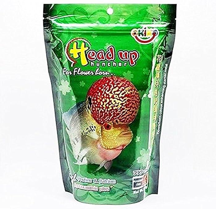 OKIKO Fish Food Size M 3.5 oz (100g) Head Up Hunch High Protein & Calcium with Astaxanthin Plus Flowerhorn Cichlid