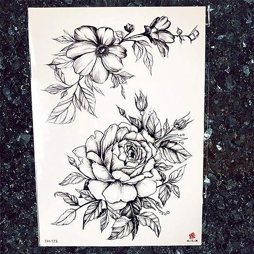 tzxdbh 5Pcs-Blue Water Color Flower Tattoos Women Arm Art Tattoos ...