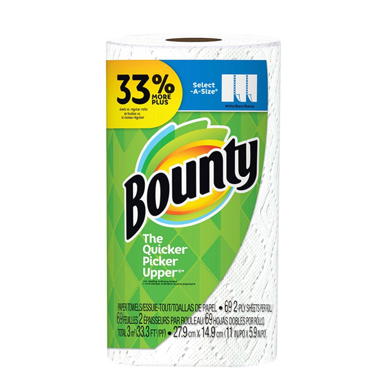 Toalla de papel Bounty Select-A-Size 2 capas 69 hojas rollo grande - blanco - 2 unidades: Amazon.es: Oficina y papelería