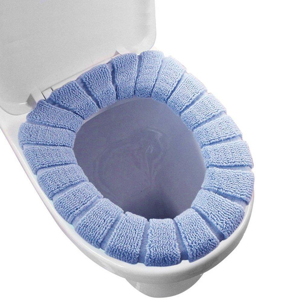 Funda de tela de asiento de inodoro, cubierta para tapa de inodoro redonda, almohadilla de repuesto para asiento de inodoro, suave, lavable, azul, large eBerry
