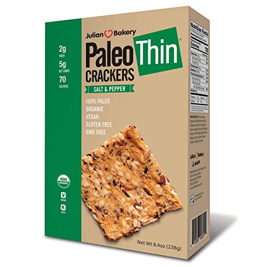 Julian Bakery Paleo Thin Crackers (Salt-Pepper) (Organic)(Low Carb)(Grain-Free)(Gluten-Free) (1 Pack)