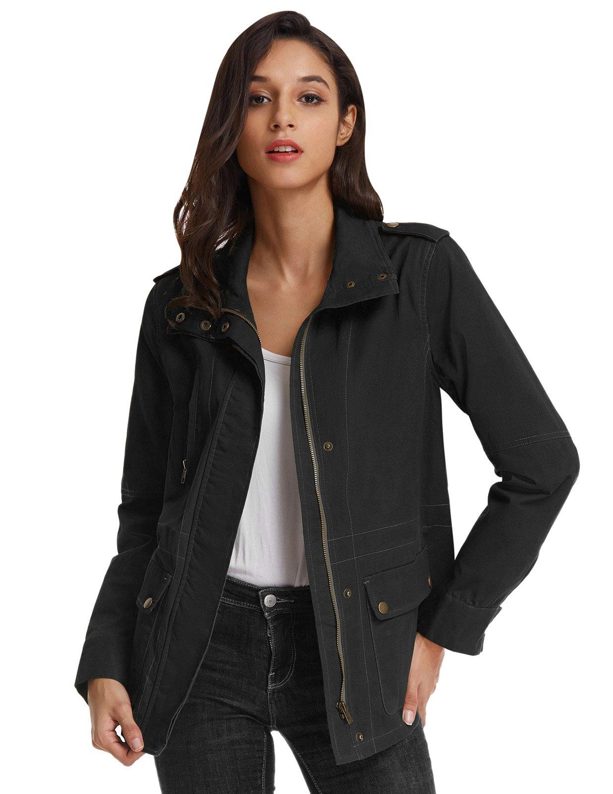 Kate Kasin Ladies Cotton Coat Jacket Safari Utility Parka Coat L KK811-3