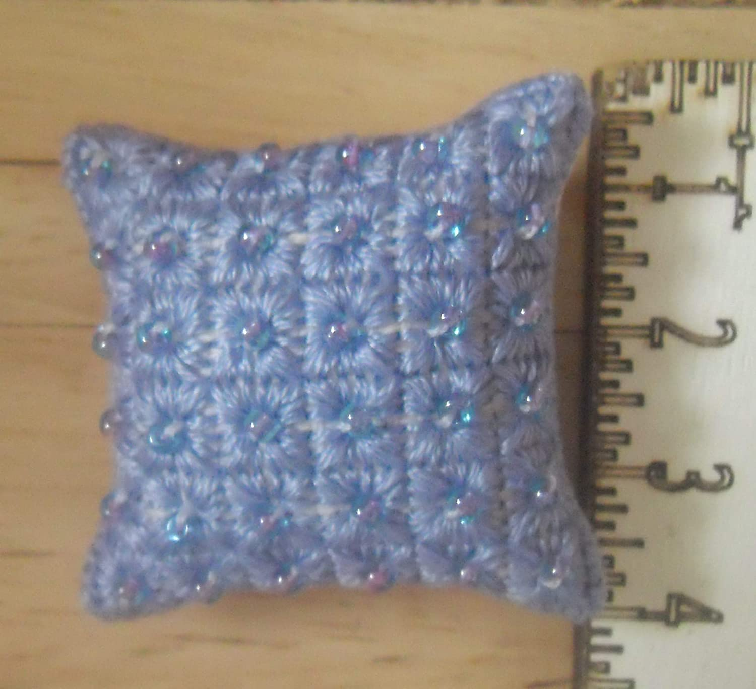 1//12th scale Dolls House Art Deco Squares Design Cushion in Purple with Lilac Beads