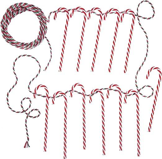 12 Pack de Bastones de Caramelos de Plástico de Navidad Rojo y Blanco con 10 m de Hilo de Algodón 3 mm de Ancho para Adornos Decoración de Árbol de Navidad: Amazon.es: Hogar