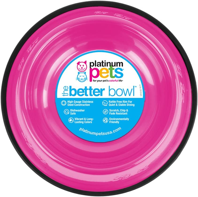 Platinum Pets Non-Tip Stainless Steel Dog Bowl, 10 Oz, Bubble Gum Pink, Small