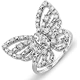 0.70 Carat (ctw) 10K Gold Round Diamond Ladies Butterfly Cocktail Right Hand Ring 3/4 CT