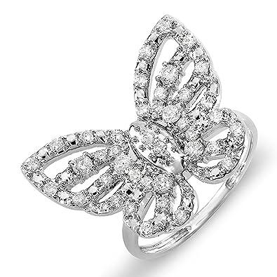 ec45eabd56c12 Amazon.com: 0.70 Carat (ctw) 10K Gold Round Diamond Ladies Butterfly ...
