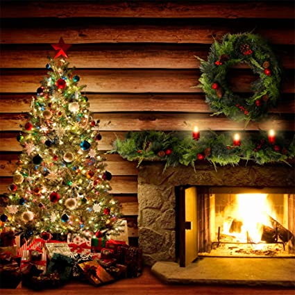 Amazon Com Photography Backdrop Holiday Hearth Log Cabin With