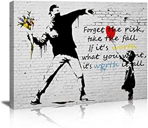 Wall Art for Office Canvas Prints Balloon Girl and Rage The Flower Thrower Banksy Street Art Graffiti Guy Small Framed Artwork Black and White Wall Decor Pics Bedroom Restaurant bar for Living Room