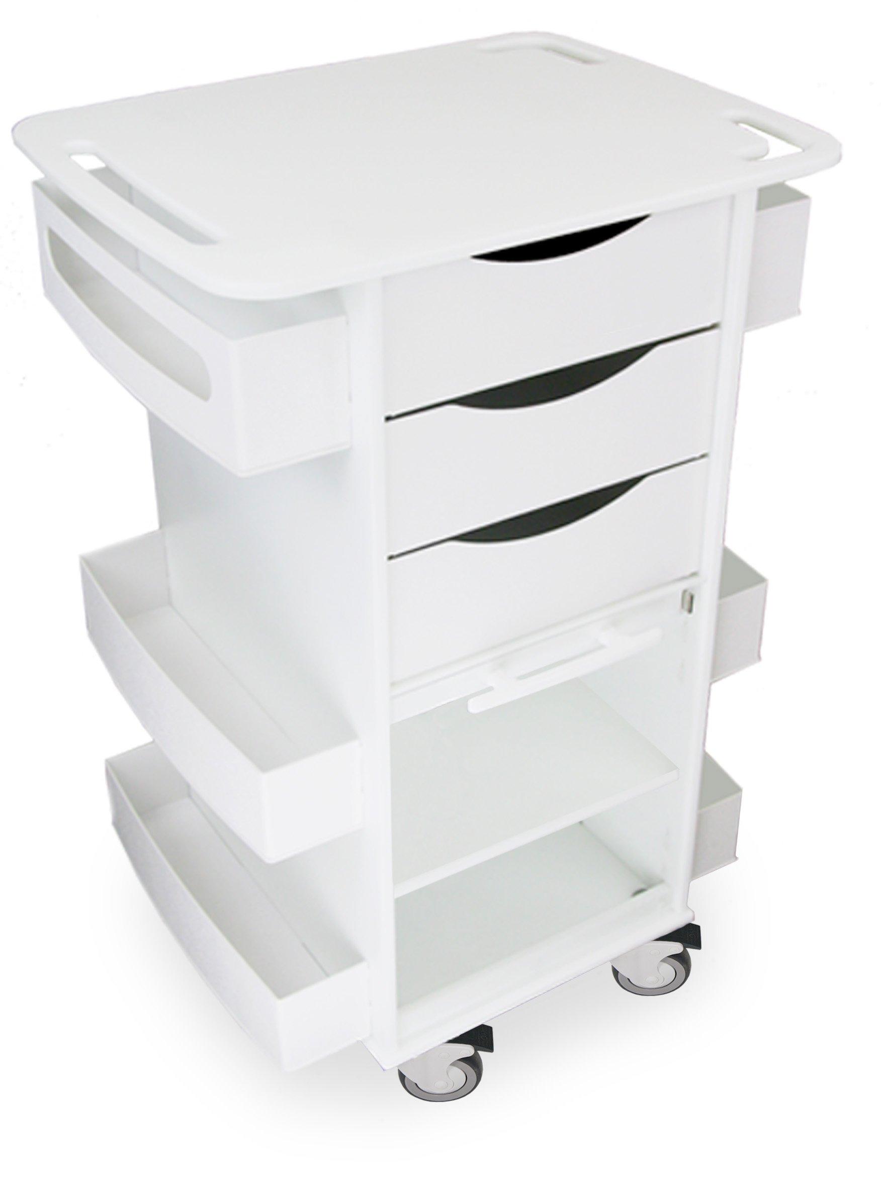 TrippNT 59004 Polyethylene Core DX Lab Cart with Extra Shelf in Bulk Storage Area, 23'' Width x 35'' Height x 18'' Depth, White