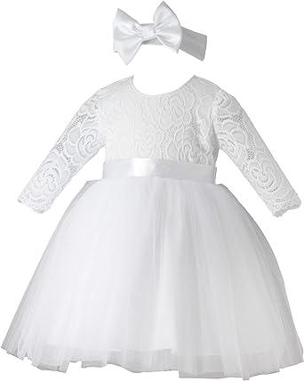 Boutique Magique Robe De Bapteme Bebe Fille Manches Longues Bandeau Amazon Fr Vetements Et Accessoires