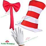 Child 3 pc CAT IN THE HAT SET World Book Day Week Crazy Cat Fancy Dress costume