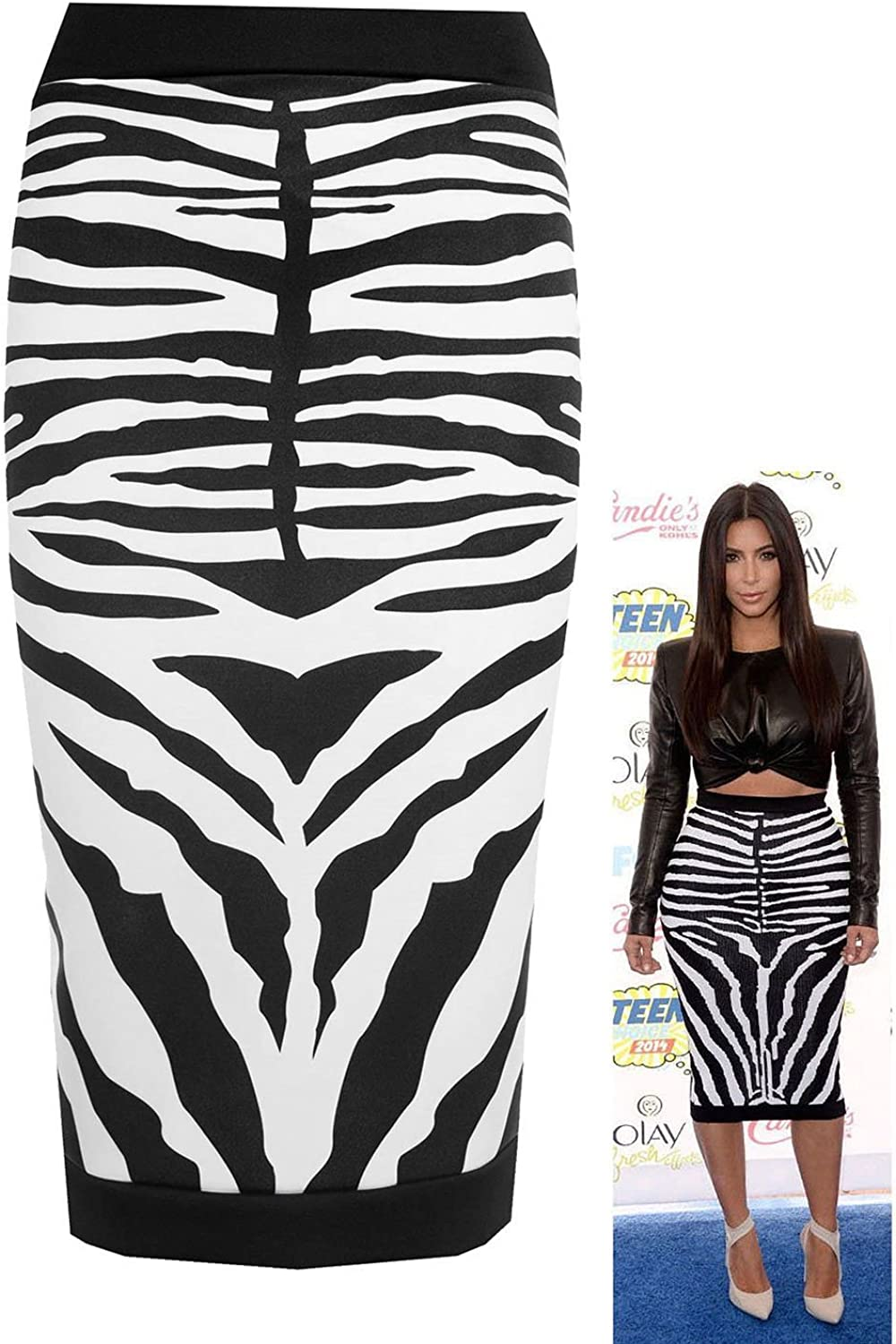 Forever Womens Celebrity Inspired Zebra Print Midi Pencil Skirt