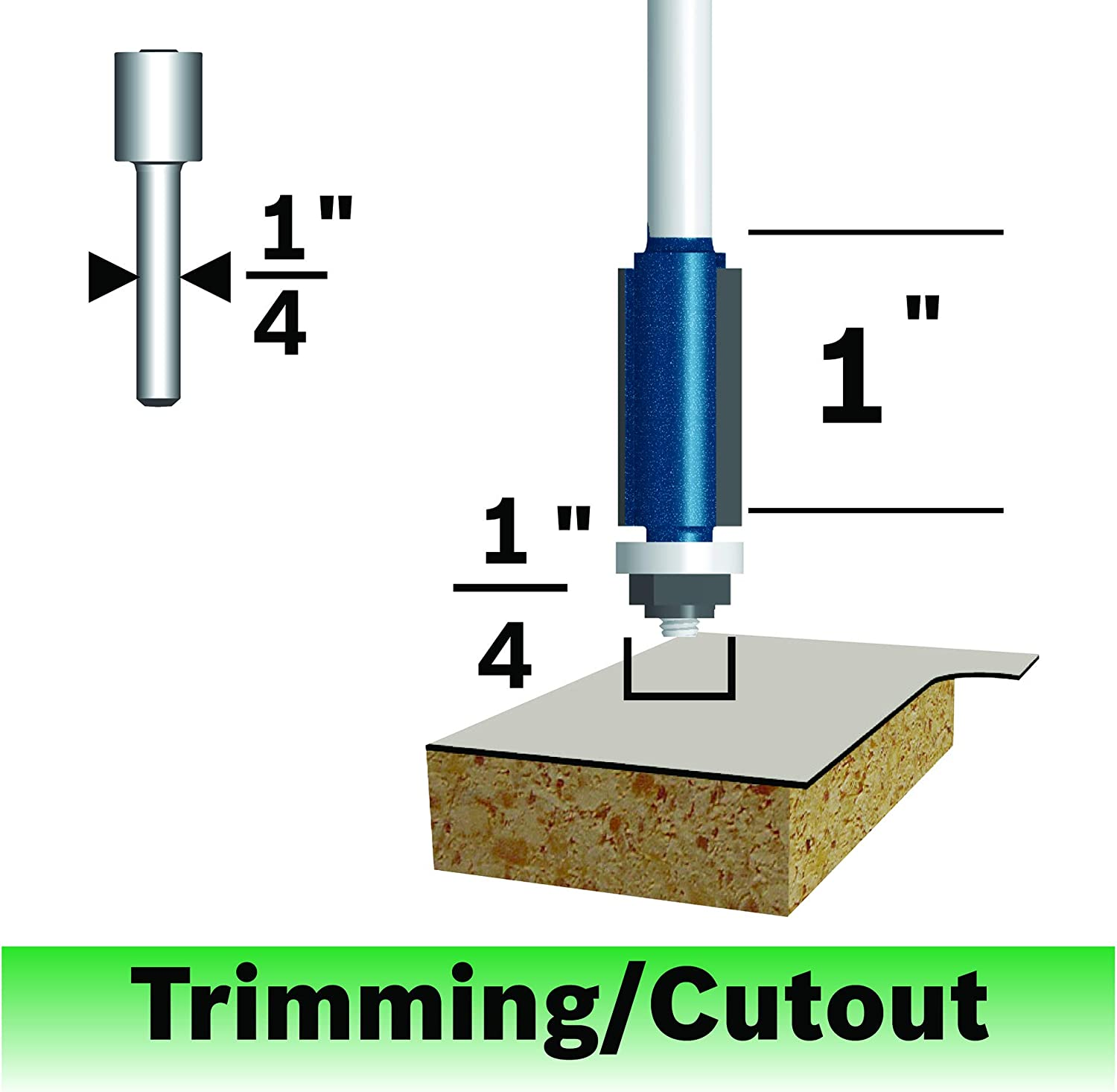 Bosch 85268MC 3//8-in Carbide-Tipped Double Flush Trimmer Router Bit