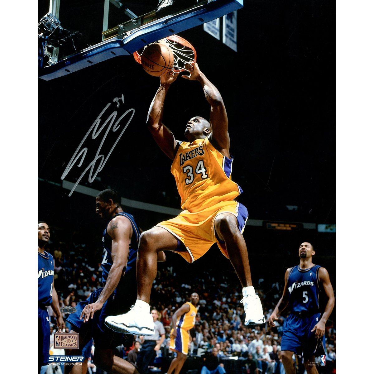 NBA Los Angeles Lakers Shaquille O'Neal Signed Two Handed Dunk in Gold Photograph, 16'' x 20''
