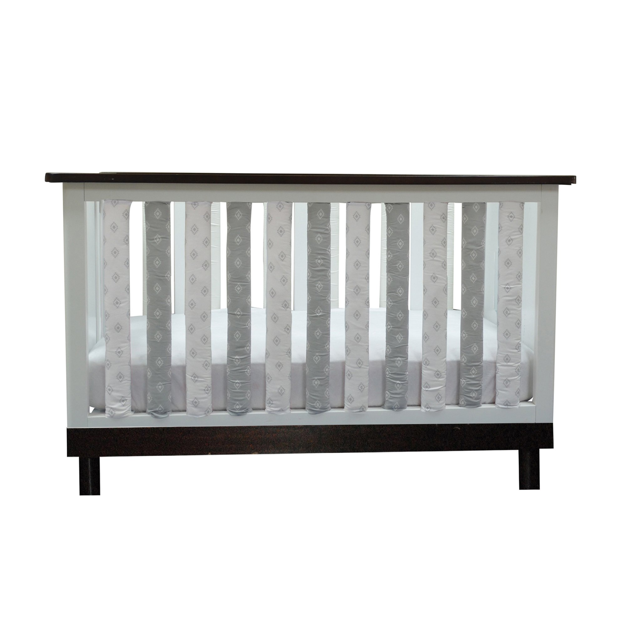 PURE SAFETY Vertical Crib Liners 38 Pack in Grey and White Tribal