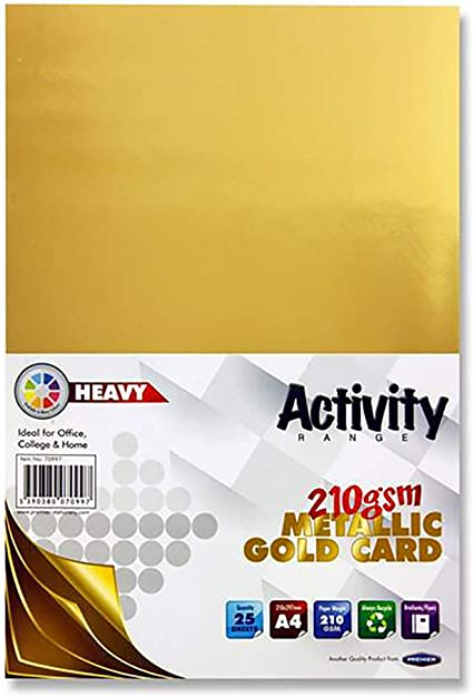 Premier papelería A4 210 gsm tarjeta de actividad – oro (Pack de ...